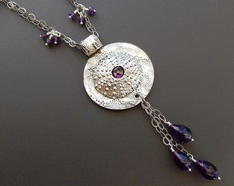 Sterling Necklace Sea Urchin Necklace Amethyst OOAK Fine Silver 24 inch with Faceted Amethyst Teardrops and Beads