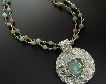 Sterling Ammonite Pendant OOAK with Aqua Dichroic Glass and Gorgeous Beach Colored Matte Amazonite Handmade Beaded Necklace