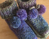 Blue Green Purple Multi Colour Slippers- Knit Bootees-Women's Cottage Slippers-Ladies Knit Country Sockettes   Reserved for Georgia Paris