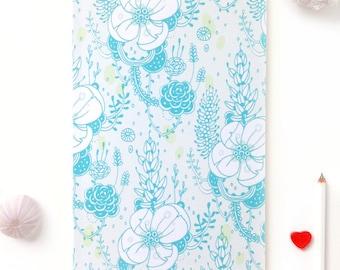 Notebook, Journal, Sketchbook, Planner - Blue Blossom Floral Pattern