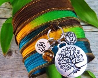 Silk Wrap Bracelet - Yoga Jewelry - Boho Wrap Bracelet - Wrap Bracelet - Gypsy Bracelet - Tree of Life - Meditation Jewelry