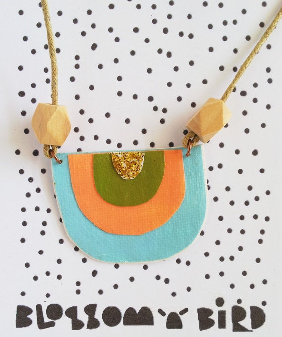SALE Statement Necklace Modern Unique Pendant Geometric Collage Olive Blue Gold Peach Mid Century Textile Jewelry Jewellery