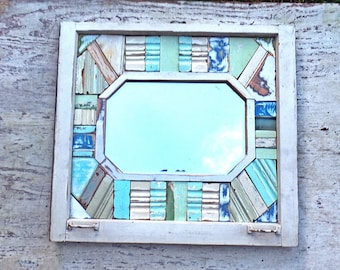 Reclaimed Wood Mirror, Framed Mosaic Mirror, Beach Mirror, Window Frame Mirror, Bathroom Mirror, Wood Mosaic Mirror Boho Wall Decor