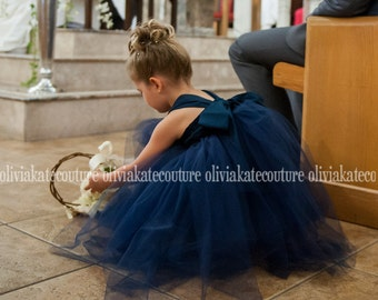 Navy Flower Girl Tutu Dress Tea