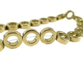 Brown Electroplated Hematite Circle Beads - (16x) (NS628)
