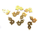 Vintage Brass Ampersand Charms (6x) (V286)