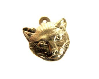 LOW Stock - Brass Cat Head Charms (4X) (M559)
