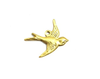 Brass Sparrow Bird Charms - Right Facing (4X) (M774)