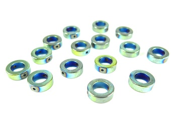 Oil Slick Blue Electroplated Hematite Circle Beads - (16x) (NS564)