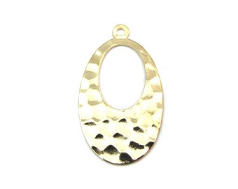 Gold Plated Hammer Oval Hoop Charms (4x) (V226)