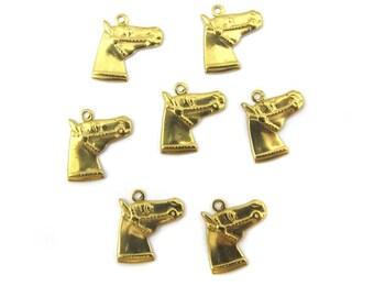 Vintage Brass Horse Head Charms (8X) (V293-A)