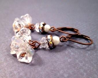 Ruffle Blossom Earrings, White Flower Rhinestone and Pearl, Copper Dangle Earrings, FREE Shipping U.S.
