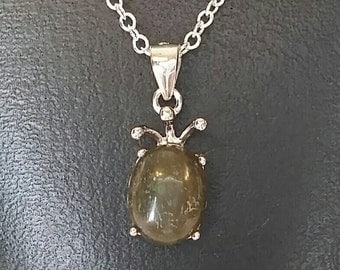 Labradorite Pendant on a Sterling Silver Chain