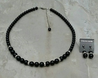 Swarovski Mystic Black Pearl Necklace and Earrings