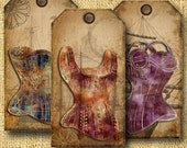 Art Journal French Vintage Corset Steampunk ClipArt Time Travel Tall Ships Digital Hang Tags Digital Collage Sheet Printable Commercial Use