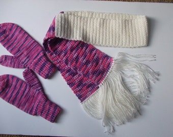 Handknit Mittens and Crocheted Scarf - Pinks, Rose, Purple - Women and Teens