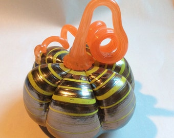Chrome Dreamer   - Hand Blown Glass  Pumpkin Squash