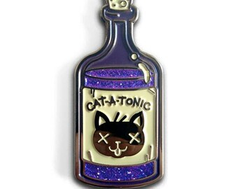 Cat-a-Tonic Poison Bottle Enamel Lapel Pin with Purple Glitter