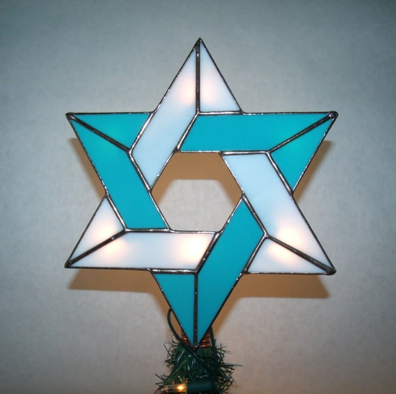 Lighted Messianic Star Tree Topper With Light Clips Stained