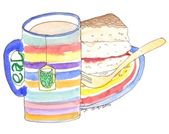 Bliss in a Cup, original watercolour painting by melanie j cook,