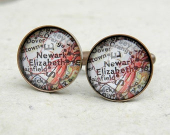 Newark Map Cufflinks - New Jersey Cuff Link Set - Great Groomsmen Gift for wedding - Custom Map Gifts for him
