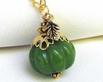 Jade Pumpkin with Tiny Leaf Pendant, Custom Length & Style Gold Necklace, Autumn Necklace Gemstone Jewelry