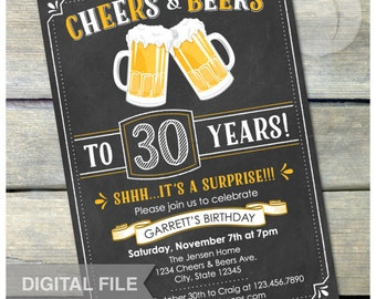 "Surprise 30th Birthday Invitation Cheers & Beers Invite Chalkboard Birthday Party Men Women - 5"" x 7"" Digital Invite"