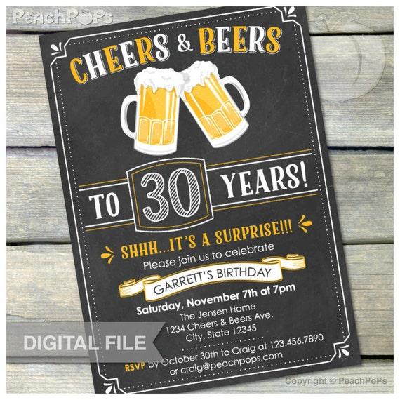 Surprise 30th Birthday Invitation Cheers & Beers Invite