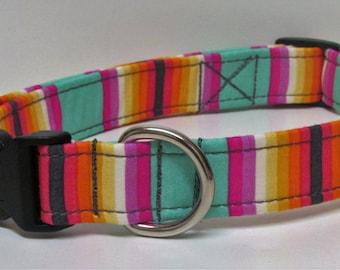 Chipper Tick Tock Stripe Seafoam Handmade Dog Collar
