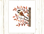 Chestnut-Backed Chickadee Print -- bird art -- bird art 52 birds stephanie fizer coleman illustration dark eyed junco