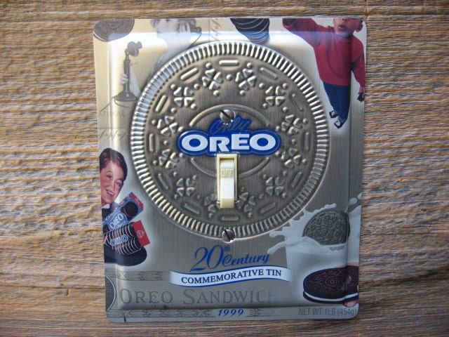 Oreo cookies tin upcycled recycled tins embossed metal silver for Can you recycle cookie tins