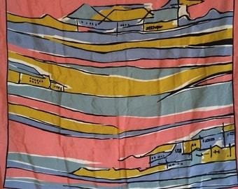 Vintage Pastel Mediterranean Scene Silk Scarf