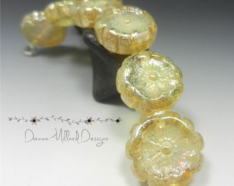 SRA HANDMADE LAMPWORK Glass Bead Set Donna Millard organic golden silvered roses summer jewelry necklace earrings