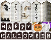 ART TEA LIFE Happy Halloween Tag Collection Collage Sheet Paper Doll Parts digital file altered art scrapbook journal decoupage clip art
