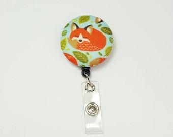 Retactable ID Badge Reel / ID Badge Holder / Name Badge Clip / Badge Pull / Nurse Badge Reel / Retractable Badge Holder - Foxy