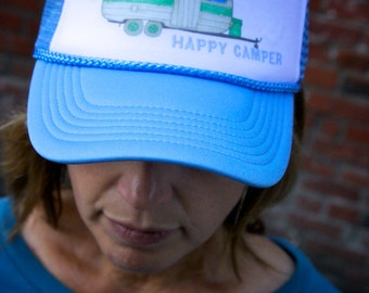 Happy Camper Canned Ham Trailer Trucker Hat