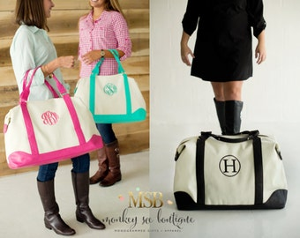 Weekender Canvas Bag in Hot Pink, Mint or Black - embroidered with an initial, monogram, name, hashtag or custom phrase - luggage - travel