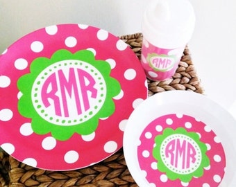 ON SALE Pink and green personalized melamine tableware - monogrammed children's tableware set with sippy cup or straw tumbler - personalized