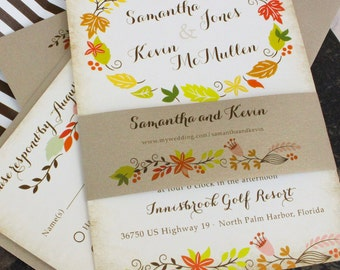 Fall Floral Wedding Invitation - Autumn Wedding Invitation - Design Fee