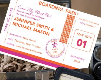 Boarding Pass Postcard Save the Date (Maui) - Design Fee