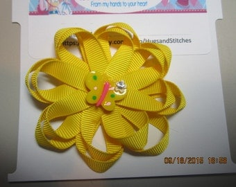 Yellow Butterfly Hair Bow