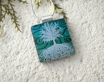 Tree of Life, Fused Glass Jewelry, Dichroic Pendant, Dichroic Jewelry, Rooted Tree,  Green, Nature Jewelry, Silver Chain, ,070916p101