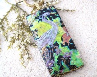 Egret Necklace, Exotic Bird, Bird Pendant, Fused Glass Jewelry, Dichroic Pendant, Dichroic Jewelry, Gold Necklace, Bird Jewelry,  060316p101