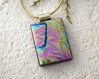 Gold Pink Purple Weave, Dichroic Jewelry, Rainbow Necklace, Glass Jewelry, Fused Glass Jewelry,Dichroic Glass Pendant & Necklace 092715p104