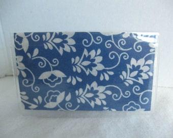 Business Card Holder - Floral Blue Cream Mini Wallet - Blue Floral Credit Card Holder - Vinyl Biz Card Case