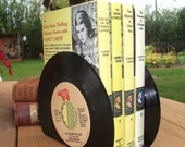 Record Bookends for Office Desk Accessories Vintage Vinyl 45 Record Book Ends Recycled Home Decor