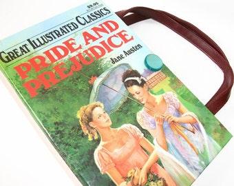 Book Purse Jane Austen Pride and Prejudice Book Handbag, Fashion Accessories, Altered Recycled Book, Handmade Clutch