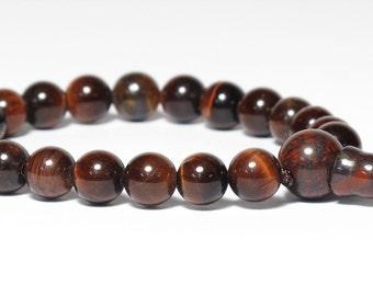 Red Tiger Eye Wrist Mala Buddhist Juzu Nenju, 8mm 21 beads, Root Chakra, 1st Chakra, Buddhism Prayer Beads, Dark Red, Adjustable Bracelet