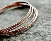 Thin Copper Bangles - Hammered Copper Bangles with a Brushed Finish - Prisms
