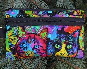 Cat mini wallet, purse organizer, wristlet, phone wallet, Painted Cats, Sweet Pea